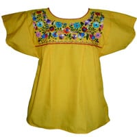 Mexican Blouse Traditional Floral - Yellow