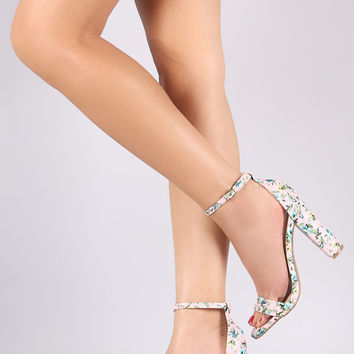 Wild Diva Lounge Floral Print Ankle Strap Chunky Heel