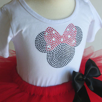 24 mos-2T Red Minnie Mouse tutu & rhinestone t shirt disney costume dress