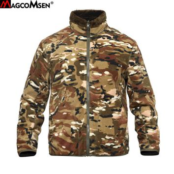 MAGCOMSEN Camouflage Reversible Military Fleece Jacket Men Winter Thermal Army Tactical Jacket and Coat Windbreakers AG-PLY-40