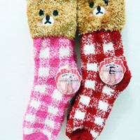 Japan ~ Harajuku Tokyo Cute Kawaii Teddy Bear Fuzzy Winter Room Socks 2 Color