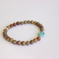 Turquoise Peace Sign Stackable Natural Stone Bead Bracelet