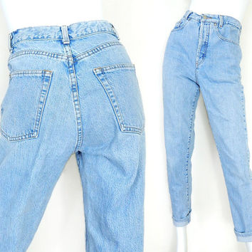 Vintage 80s High Waisted Button Fly Tapered Women's Jeans - Size 6 - Banana Republic Light Rinse Made in USA Ankle Length Mom Jeans