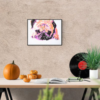 Dog illustration: Pug, original art, hand-signed, unique piece,