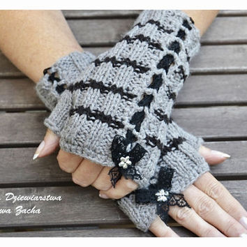 Grey & black Fingerless mittens with little flowers ,Fingerless mittens ,gloves,hand knit fingerless mittens fingerless gloves, knit gloves