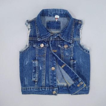 Chumhey 1-7T Baby Jeans Vests Spring Autumn Boys Girls Babe Jeans Jacket Denim Outerwear Toddler Clothing Clothes Kids Tops