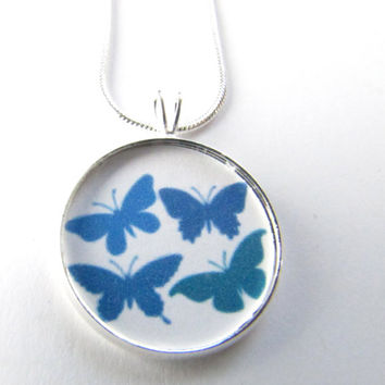 Butterfly Necklace-blue butterflies,dainty necklace,gifts for her,butterflies