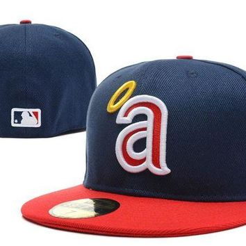 LMF8KY Los Angeles Angels of Anaheim New Era 59FIFTY MLB Cap Blue-Red