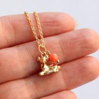 3D Gold cute tiny DEER necklace with coral bead, Bridal Gifts, Christmas Gifts,  Animal Jewelry,  Birthday Gifts, Gift for girls