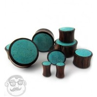 Sono Wood Plugs With Turquoise Stone Inlay (6 Gauge - 1 Inch) | UrbanBodyJewelry.com