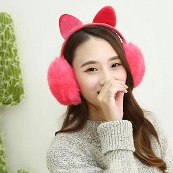 Kawaii Faux Fur Ear Muffs with Cat Ears