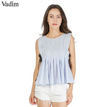 Vadim sweet sleeveless striped pleated shirts bow tie O neck ruffles doll blouse European style cute summer casual tops WT430