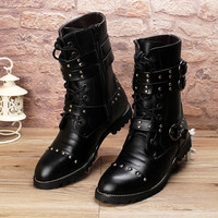 Mid Calf Punk Shoes Street Fashion Rivets Winter Man Black Boots Buckle Gothic Lace Up Pointed Toe Internal Height Increase