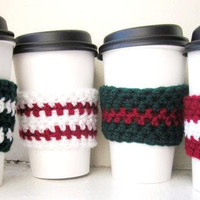 Crochet Holiday Coffee Cup Cozy Red Green White Set Of Four