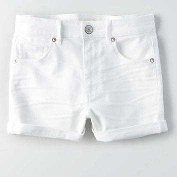 AEO Denim X Super Hi-Rise Shortie, White