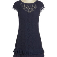 ModCloth Vintage Inspired Mid-length Cap Sleeves Shift Presentation and Accounted For Dress in Navy