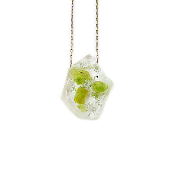 Rough Peridot and Silver Leaf Resin Necklace • Rock Specimen Necklace • Eco Resin Silver Leaf Raw Gemstone Necklace • Science Necklace