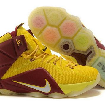 2018 Buy LeBron 12 Cleveland Cavs For6iven Away Sonic Yellow Wine Red Metallic Silver Brand sneaker