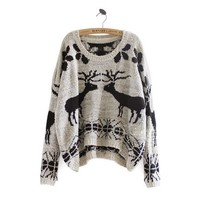 Winter Asymmetric Woolen Reindeer Pattern Sweater by ClothLess