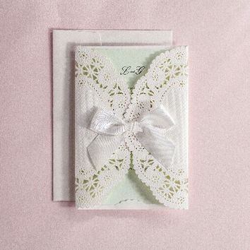 1pcs Wedding Invitations Card Bowknot Lace with Envelope & Seal DIY Blank Sheet Laser Cut with Embossed Flowers Romantic White