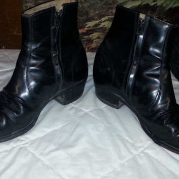 Vintage Men's WESTERN Black Leather Country Western Zip-up Ankle Boots - 11 D