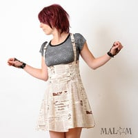 $235.81 High waisted skirt with suspenders  Newspaper print  sz M by Malam