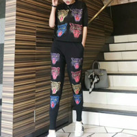 """Gucci"" Women Casual Fashion Knit Tiger Head Pattern Middle Sleeve Trousers Set Two-Piece Sportswear"