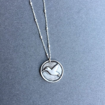 """Hummingbird Pendant, Fine Silver (.999) Jewelry, Sterling Silver, Satellite Chain 16"""", Animal Necklace, Spirit Animal, Gifts for Women"""