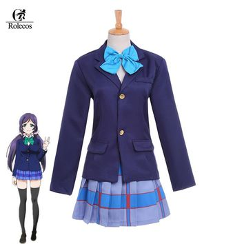 Rolecos Japanese Anime Love Live Tojo Nozomi Love Live School Uniform Cosplay Costume(Top+Skirt+Blouse+Tie)