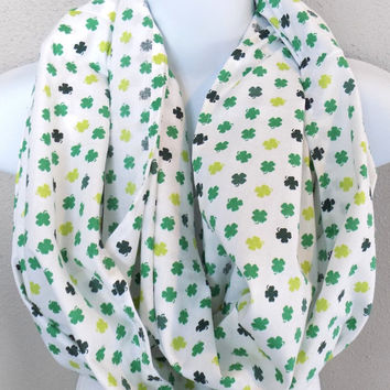 Green & Lime Mini Shamrocks Two Loop Infinity Scarf Womens St Pattys Day Scarf Girls Saint Patricks Day Infinity Irish Scarf Green Scarf