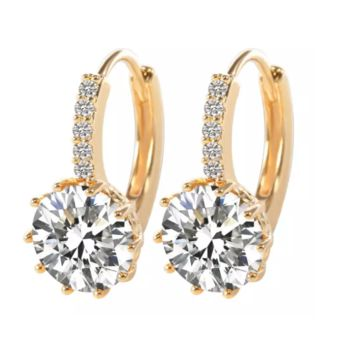 Perfect 3.5CTW CZ Solitaire Yellow Gold Hoop Earrings