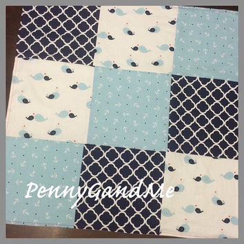 Personalized Anchor Baby Blanket ~ Nautical Baby Blanket ~ Whale Baby Blanket