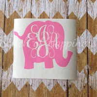Monogram Elephant Decal - Elephant Monogram Car Sticker