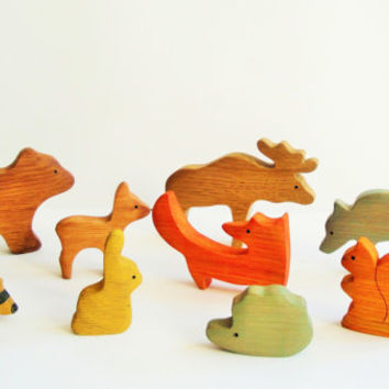 Wild animals (9pcs) Animal toys Waldorf nature table Waldorf toys Pretend play Animal figures Handmade Eco Friendly toys for kids