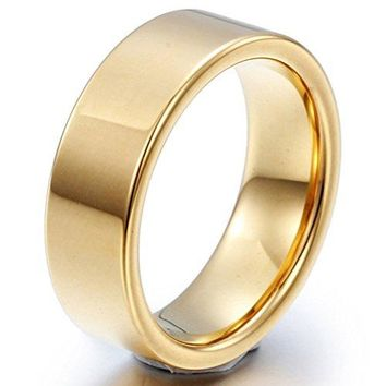 8mm Tungsten Carbide Ring Simple Style 18k Gold Wedding Engagement Promise Band High Polished Flat Top