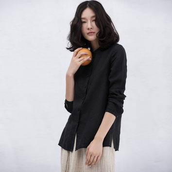 XianRan Women Linen Shirts  Hot Sale Autumn Loose Long Sleeves Linen Fold Plus Size Shirts Free Shipping