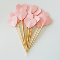 12 Powder Pink HEART Party Picks / Cupcake Toppers / Cocktail Sticks