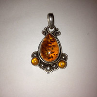 Amber Sterling Pendant Enhancer Teardrop Silver 925 Baltic Polish Vintage Jewelry 4 Necklace Genuine Authentic Gift Poland