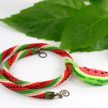 Watermelon - Bead Crochet Necklace  Beaded necklace Fruit necklace Green  Red  Summer  Polymer clay  Beadwork Jewelry  Boho Hippie
