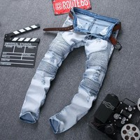 Men's Ripped Denim Biker jeans