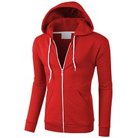 PREMIUM Mens Lightweight Soft Fleece Zip Up Sweatshirt Hoodie (CLEARANCE)