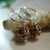 Hoop Earrings Sterling Silver with Round Copper Ball Dangle