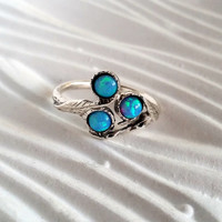 20% off- SALE! Opal stacking ring , opal flower ring , botanical ring , unique opal ring , gemstone ring , engagement ring ,twig ring