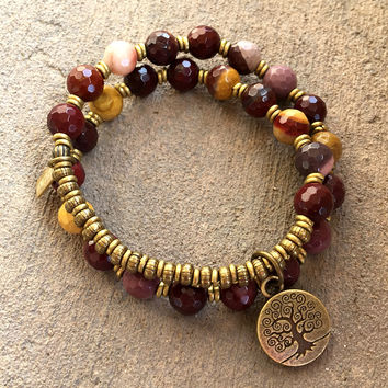 "Faceted Mookaite ""Eternal Youth and Adventure"" 27 Bead Mala Wrap Bracelet"