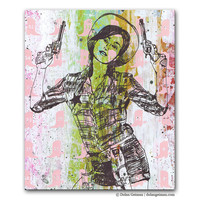Pink Cowgirl Painting, Sharpshooter Panel Painting on Wood, Coral Chartreuse Acrylic, Country Western Home Decor