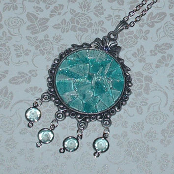 Aqua Sea Pieces Mosaic Glass Necklace
