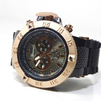 Rose Gold Black Mens Geneva Watch Fashion Designer