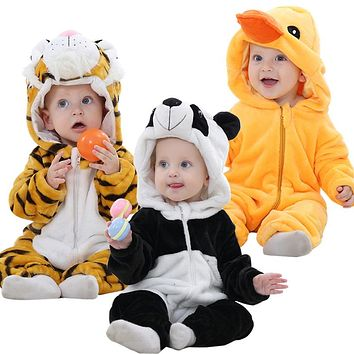 (KID STATION) baby boy girls rompers clothes new born baby Cartoon Jumpsuit warm spring autumn winter animal for boy snowsuit