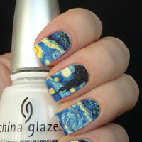 Full Starry Night Painting Nail Art Decals Nail Stickers