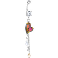 Clear Cubic Zirconia Falling Drops of Love and Heart Dangle Belly Ring | Body Candy Body Jewelry